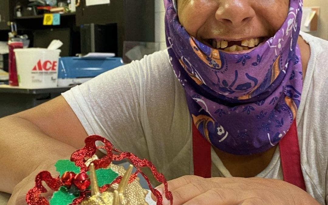 Disabled individuals create Christmas Ornaments